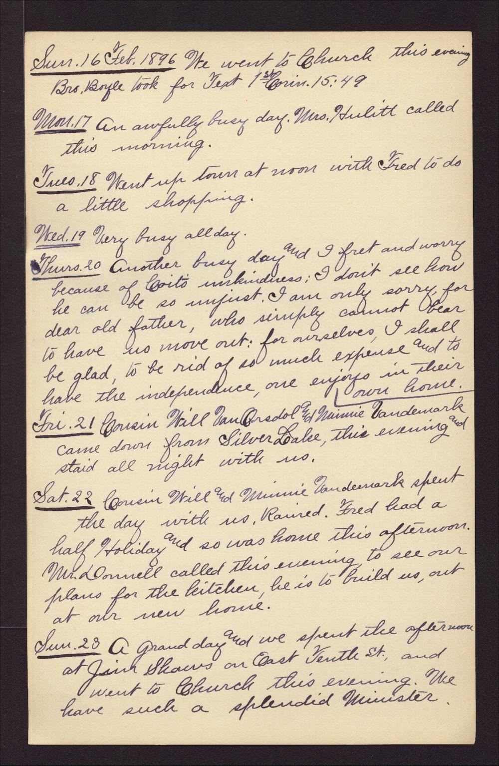 Martha Farnsworth diary - Feb 16, 1896
