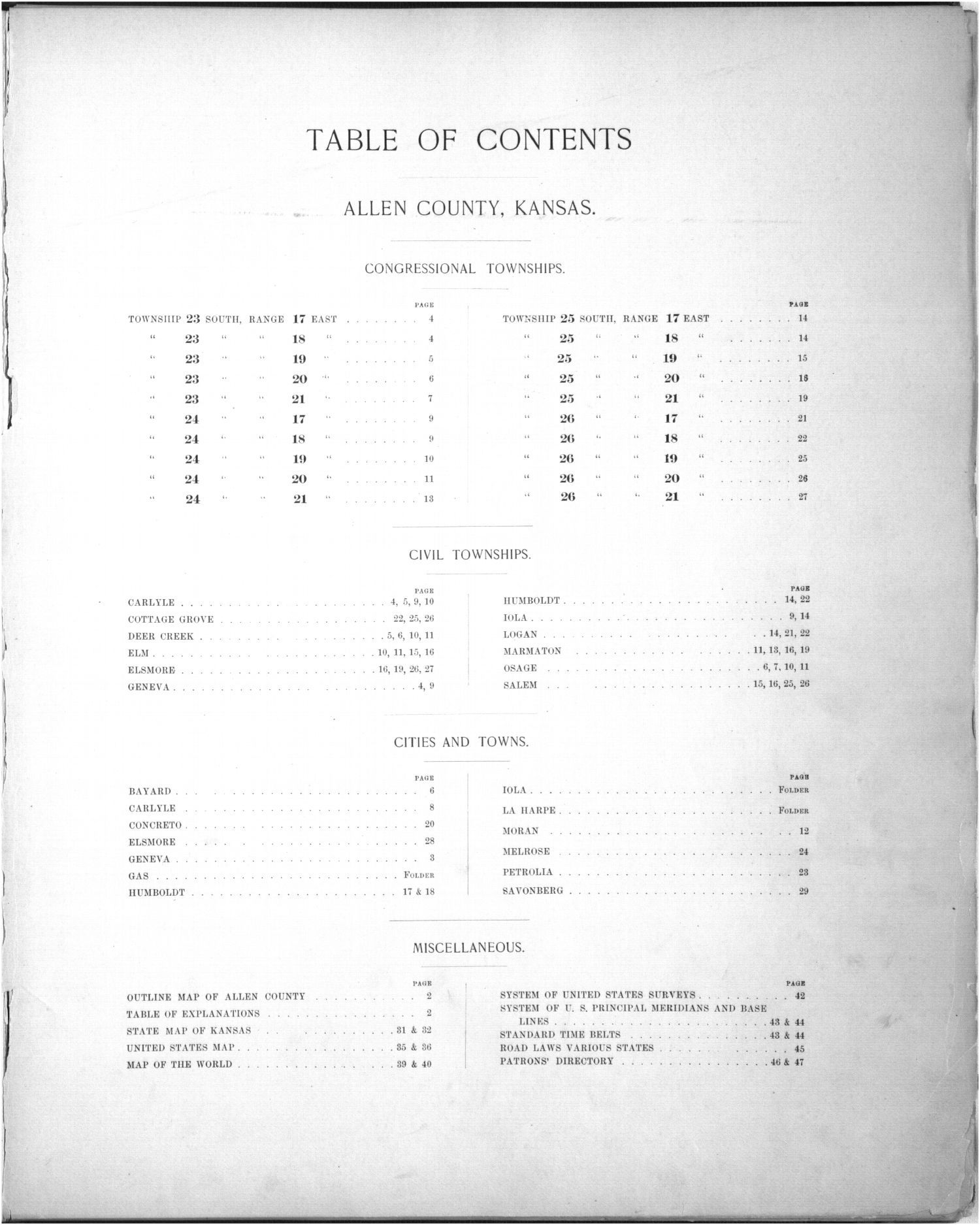 Plat book of Allen County, Kansas - Table of Contents