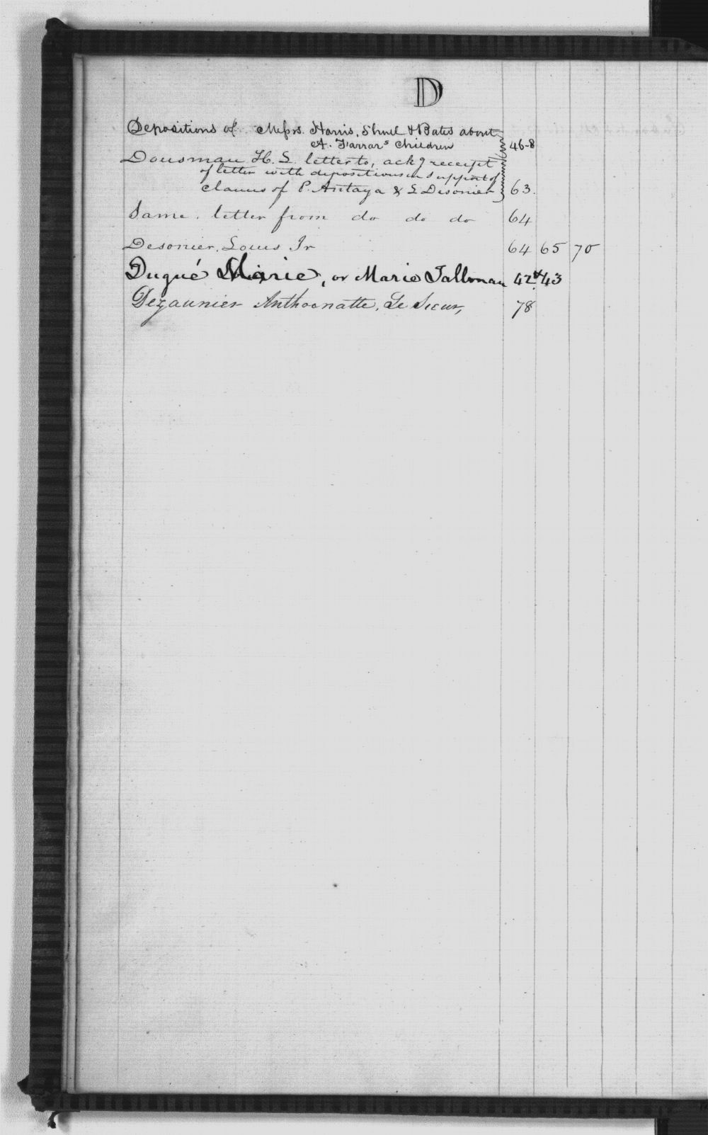 United States Office of Indian Affairs, Central Superintendency, St. Louis, Missouri. Volume 32, Claims under 1824 Sac and Fox Treaty - Index D