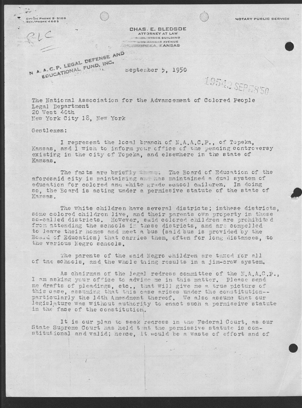 Charles E. Bledsoe to the NAACP Legal Department - 1