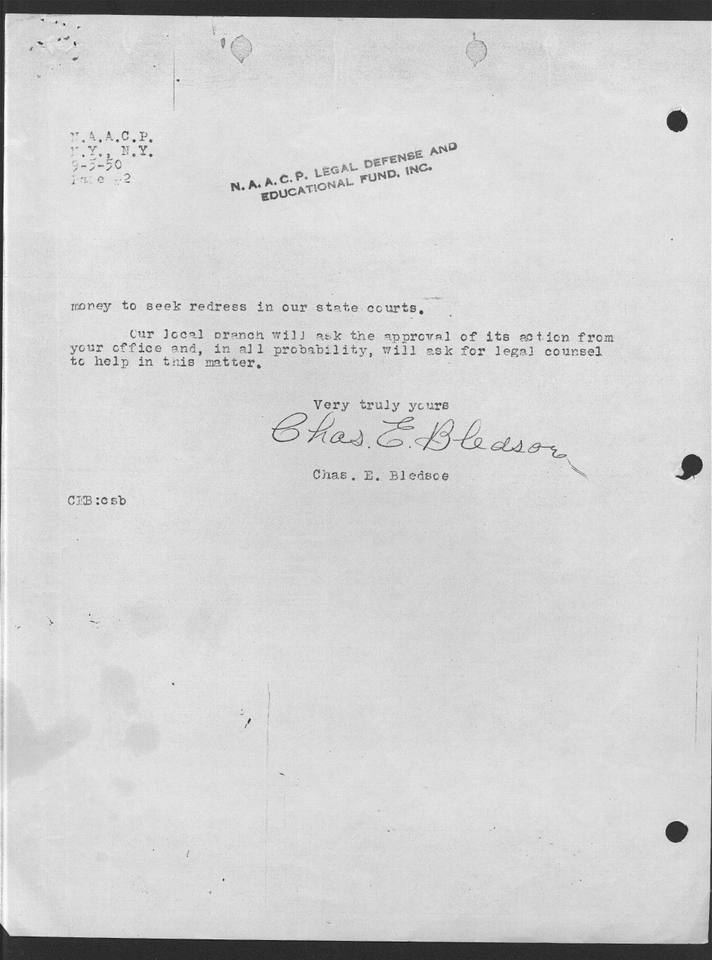 Charles E. Bledsoe to the NAACP Legal Department - 2