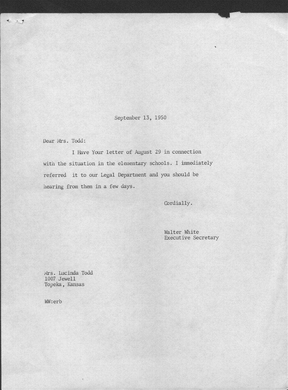 Walter White to Lucinda Todd