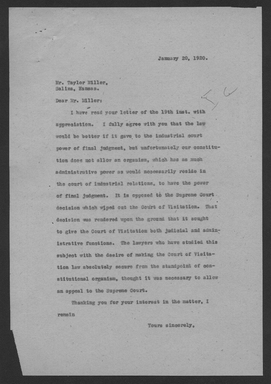 Governor Henry Allen to Taylor Miller