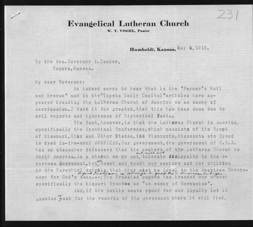 Lutheran Church protests correspondence - 1