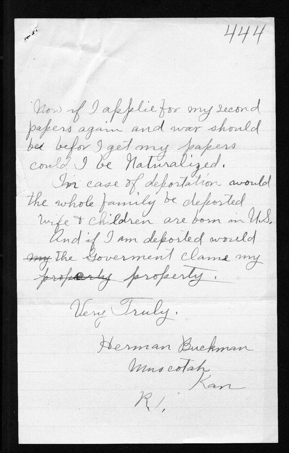 Herman Buckman to Arthur Capper - 2