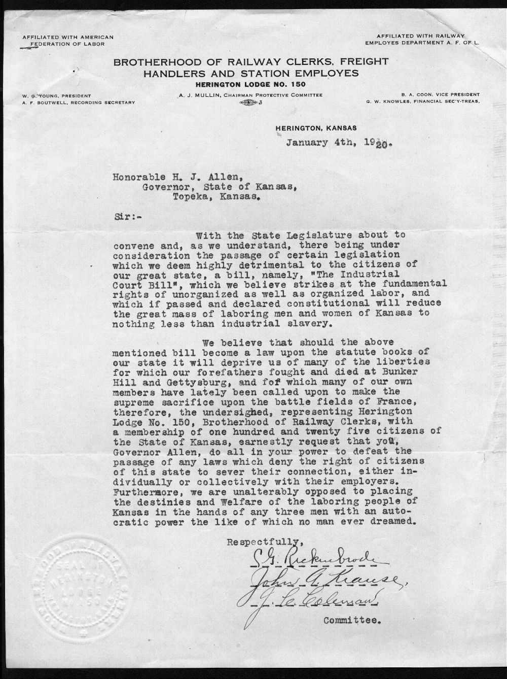 Letter to Governor Henry Allen from the Brotherhood of Railway Clerks, Freight Handlers and Station Employees