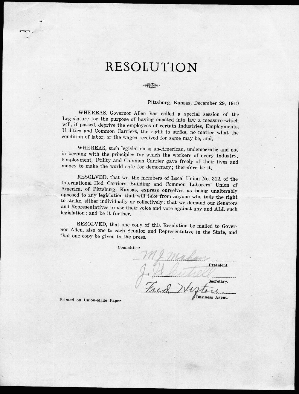 Resolution from the Local Union No. 312, International Hod Carriers, Building and Common Laborers' Union of America