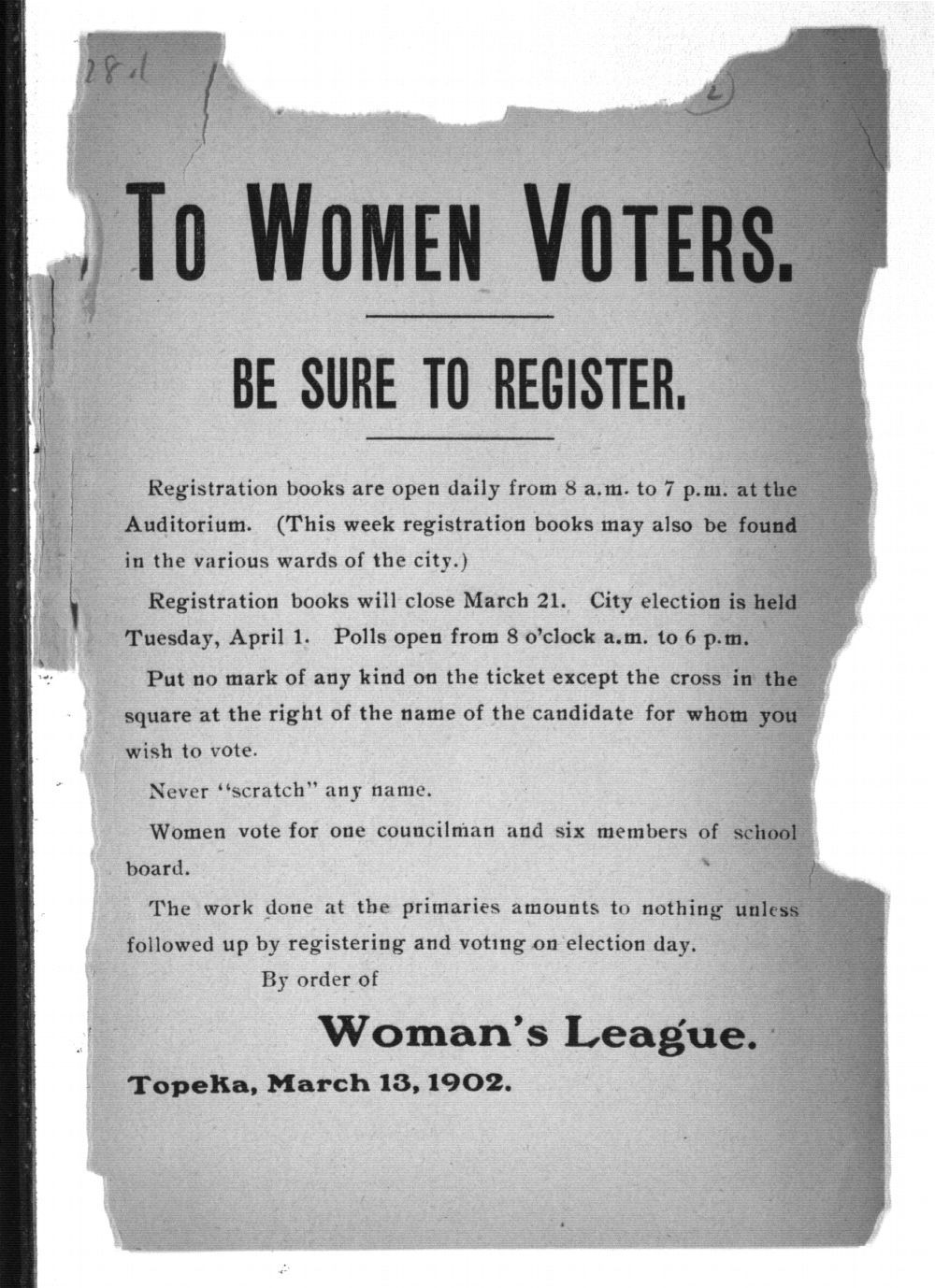To women voters, be sure to register