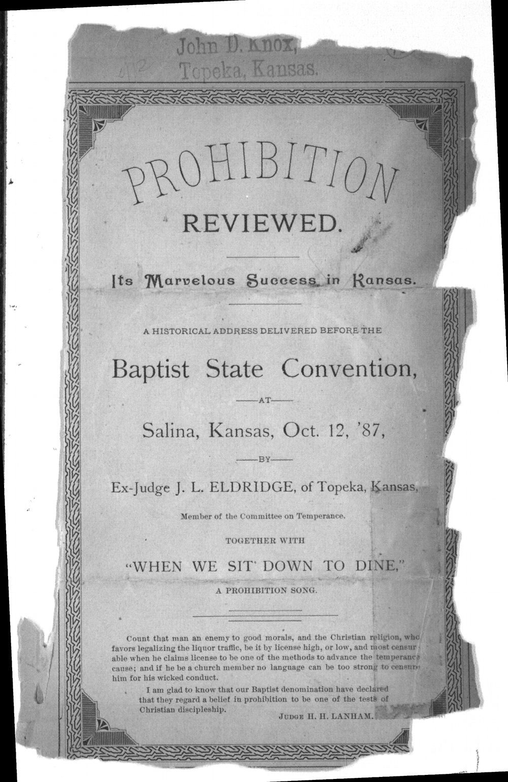 Prohibition reviewed.  Its marvelous success in Kansas. - 1