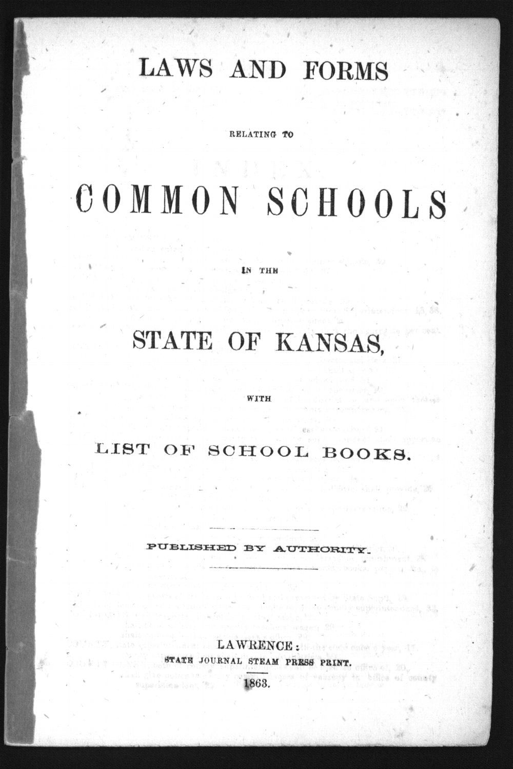 Laws and forms relating to common schools in the state of Kansas - Title Page