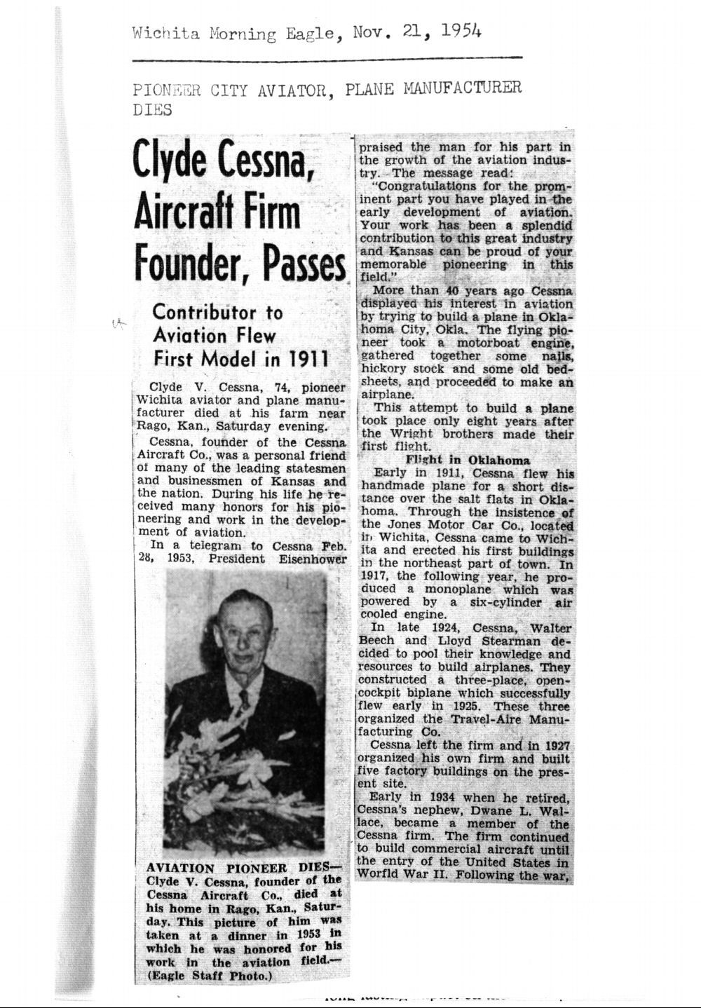 Clyde Cessna, aircraft firm founder, passes - 20