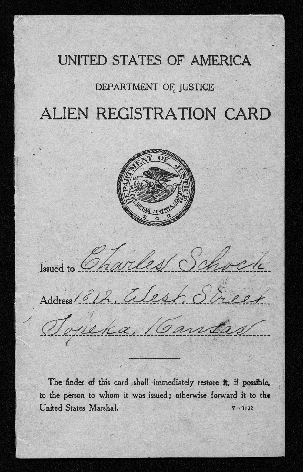 Charles Schock alien registration card - 1