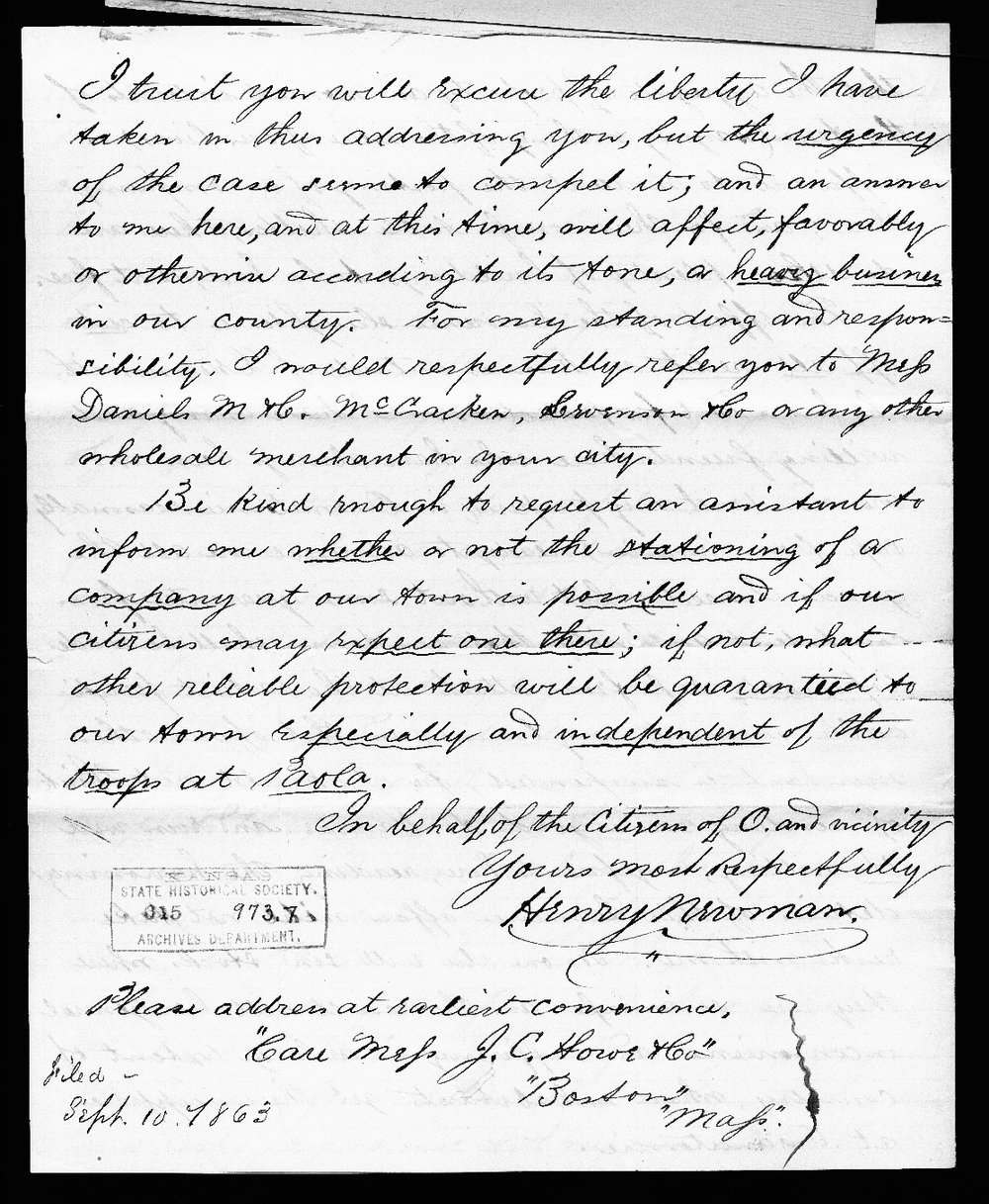 Henry Newman to Thomas Carney - 4