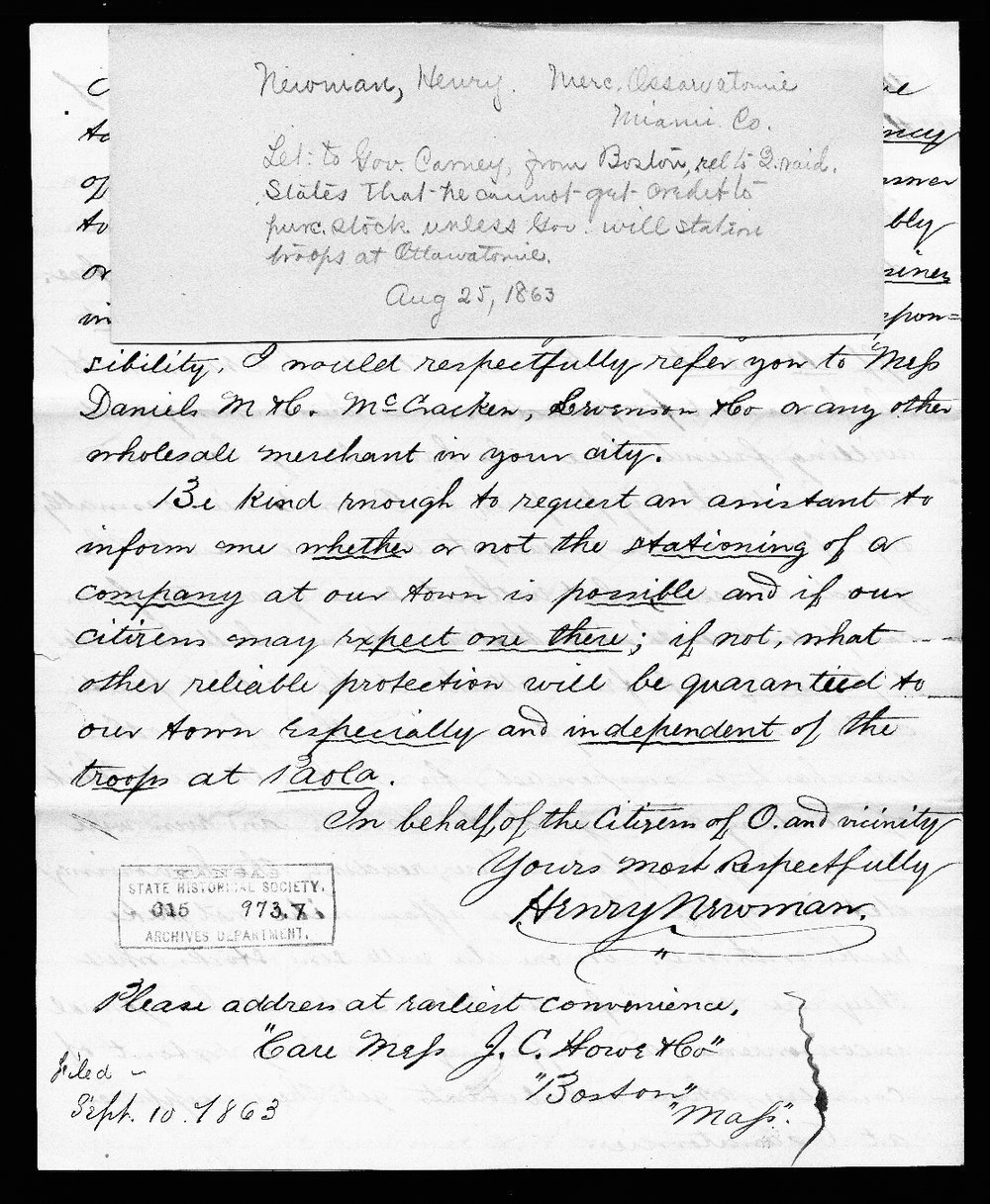Henry Newman to Thomas Carney - 5