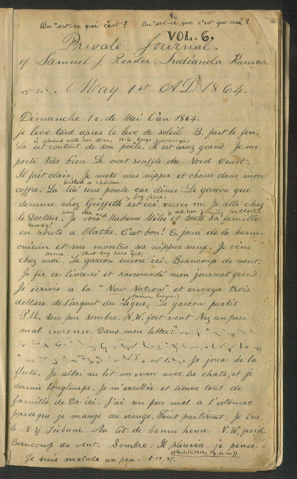 Samuel Reader's diary, volume 6 - 1