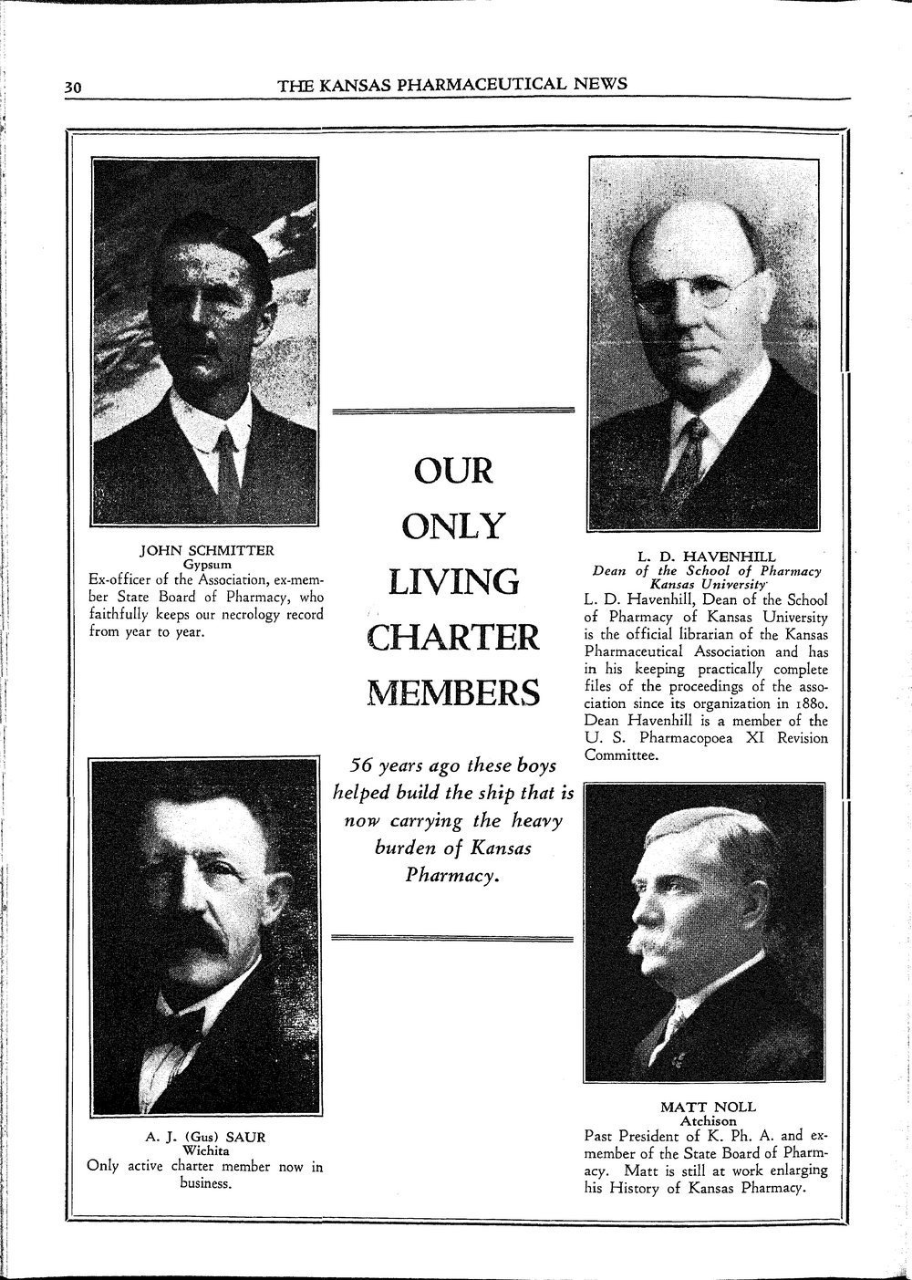 Living charter members of the Kansas Pharmaceutical Association
