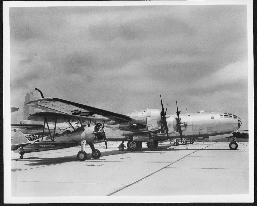 Boeing B-29 Superfortress and a PT-17 Kaydet