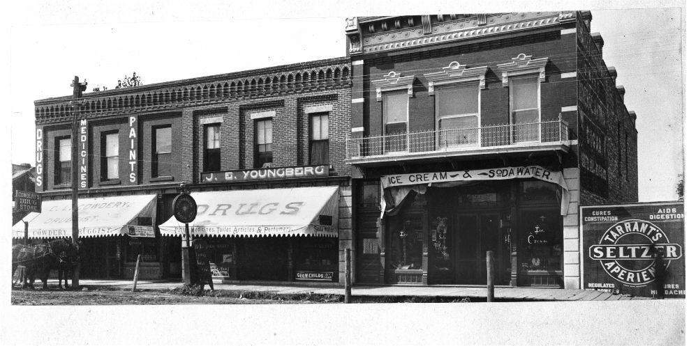Drug stores on Main Street, Ottawa, Kansas - 1