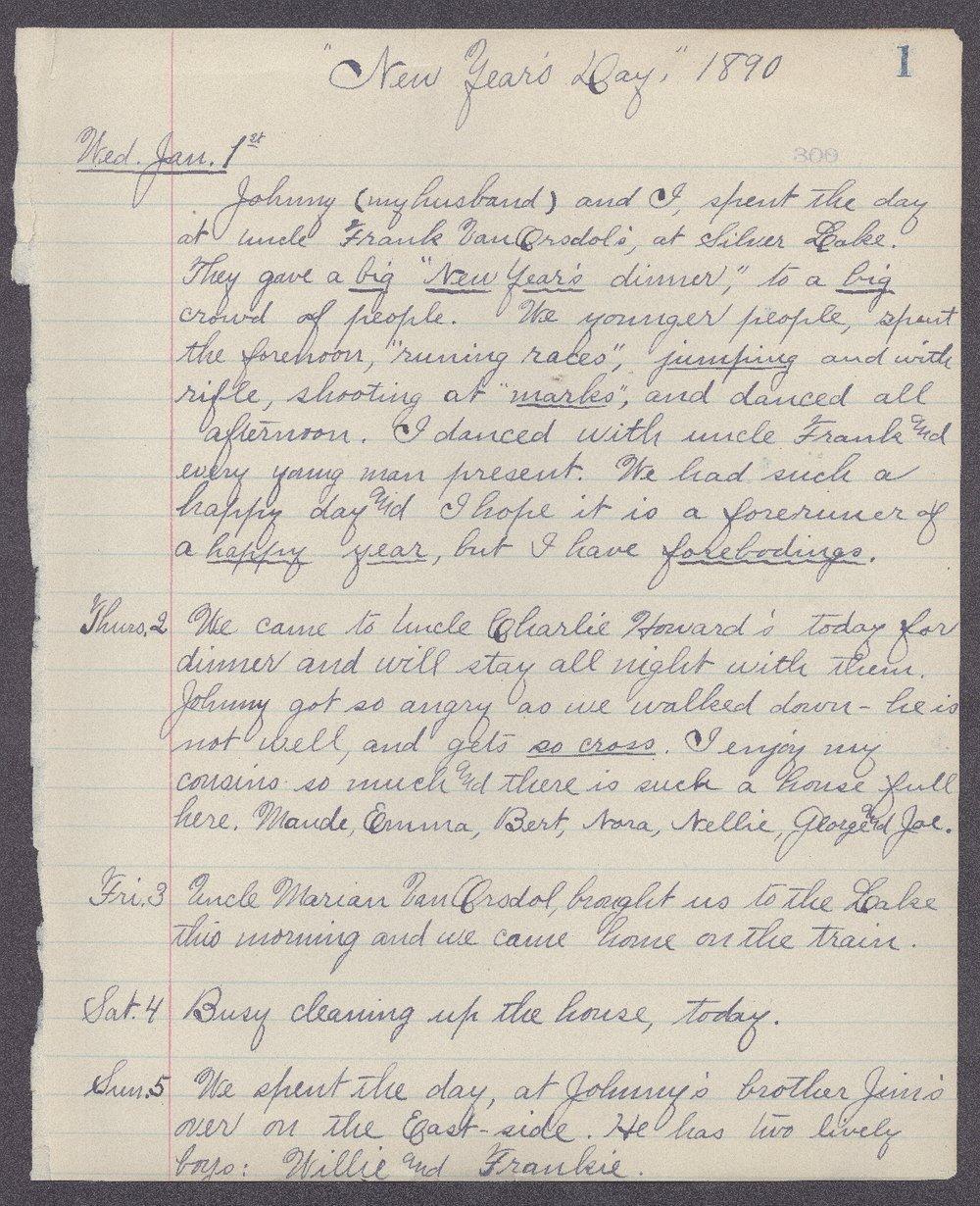 Martha Farnsworth diary - 1