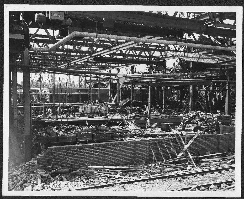 Santa Fe train shop ruins after the tornado, Topeka, Kansas
