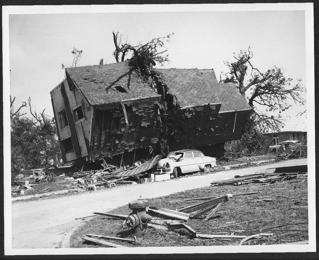 Ruins of a house after a tornado, Topeka, Kansas