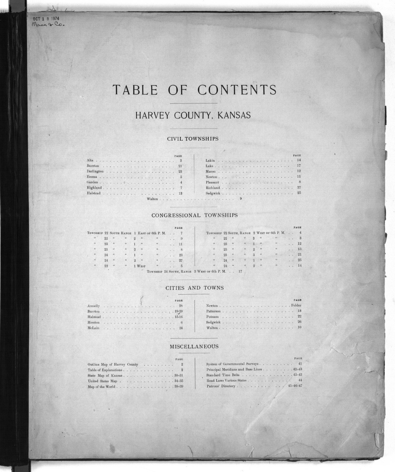 Plat book of Harvey County, Kansas - Table of Contents