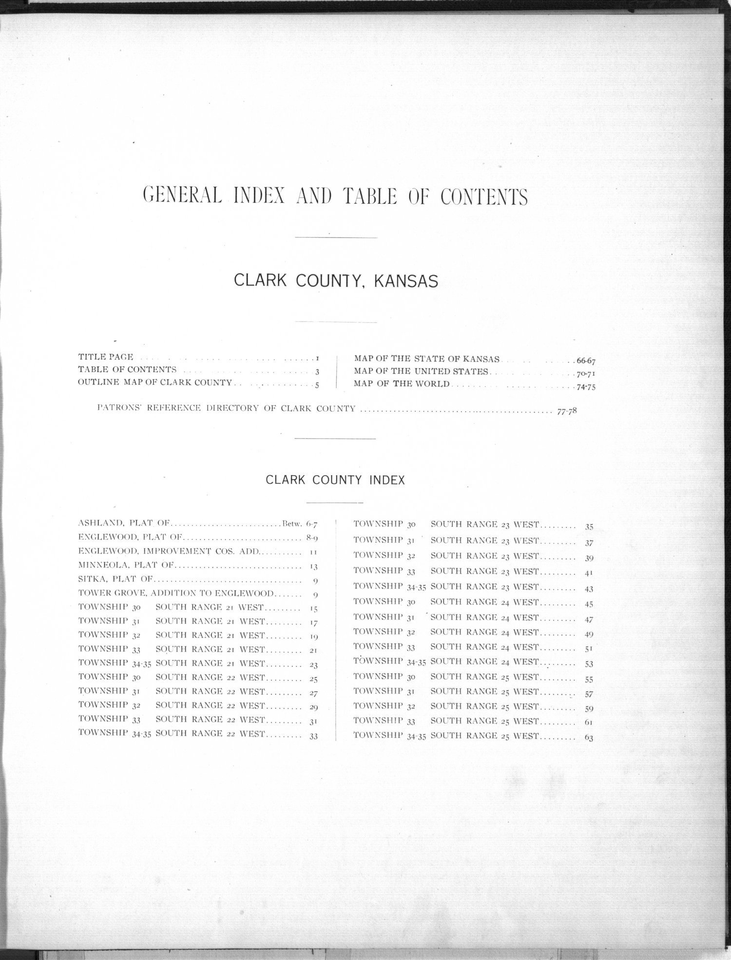 Plat book of Clark County, Kansas - Table of Contents
