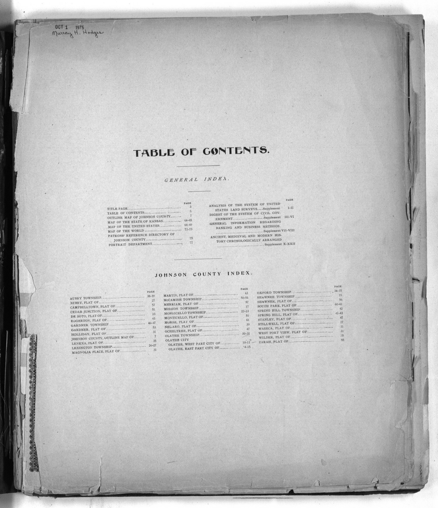 Standard atlas of Johnson County, Kansas - Table of contents