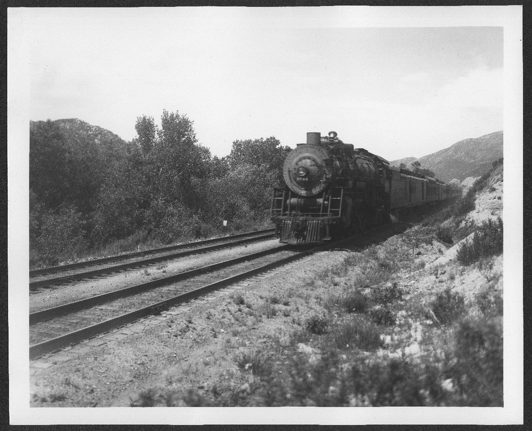 Atchison, Topeka & Santa Fe Railway Company's engine # 3744, Blue Cut, Cajon Pass, California