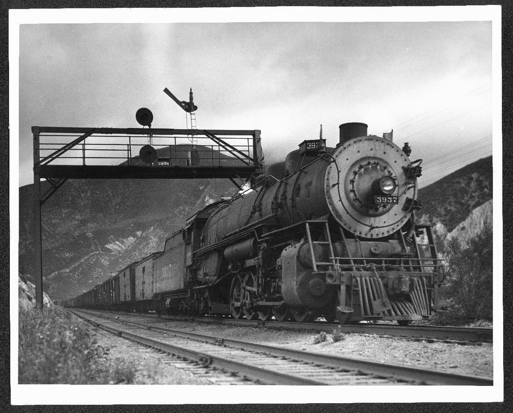 Extra 3937 steam engine, Cajon Pass, California