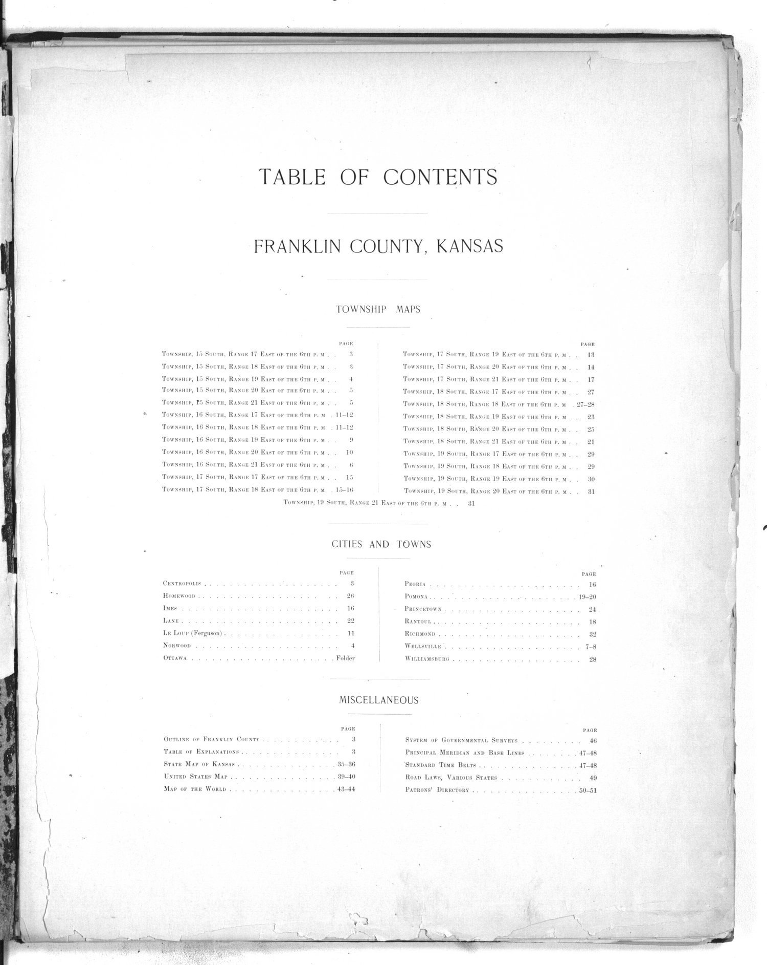 Plat book of Franklin County, Kansas - Table of Contents
