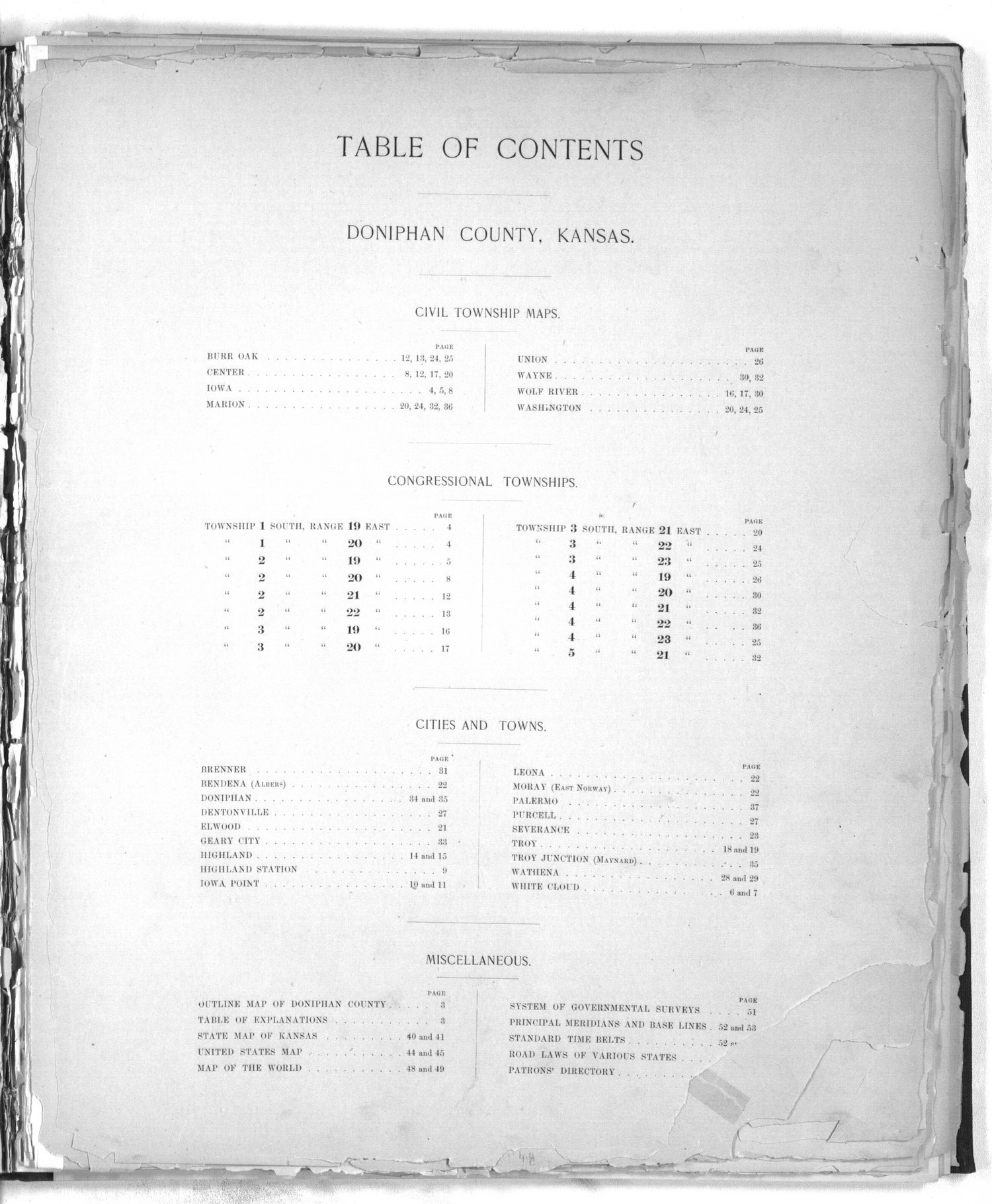 Plat book of Doniphan County, Kansas - Table of Contents