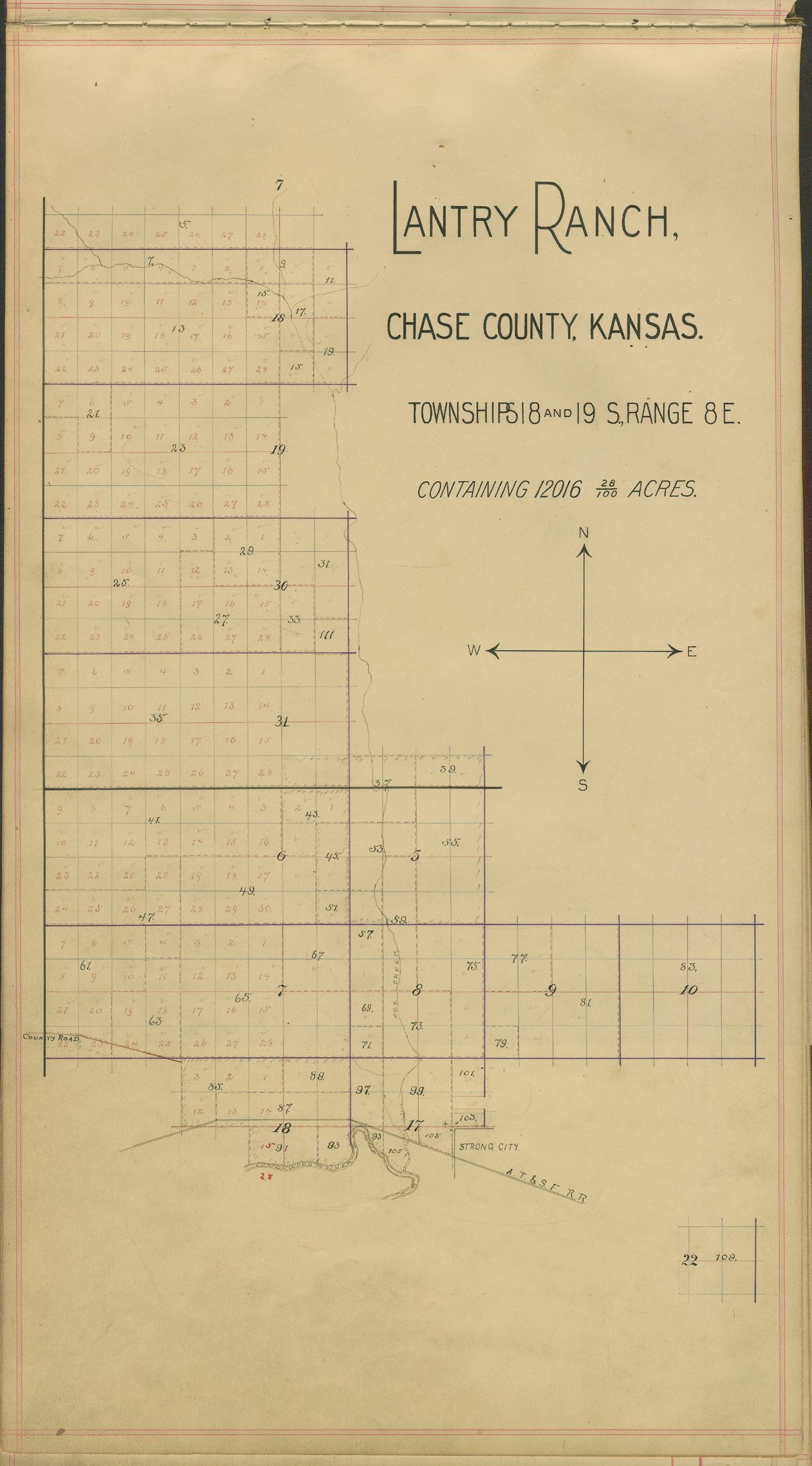 Abstract of the Lantry Ranch in Chase County, Kansas - Plat of Lantry Ranch