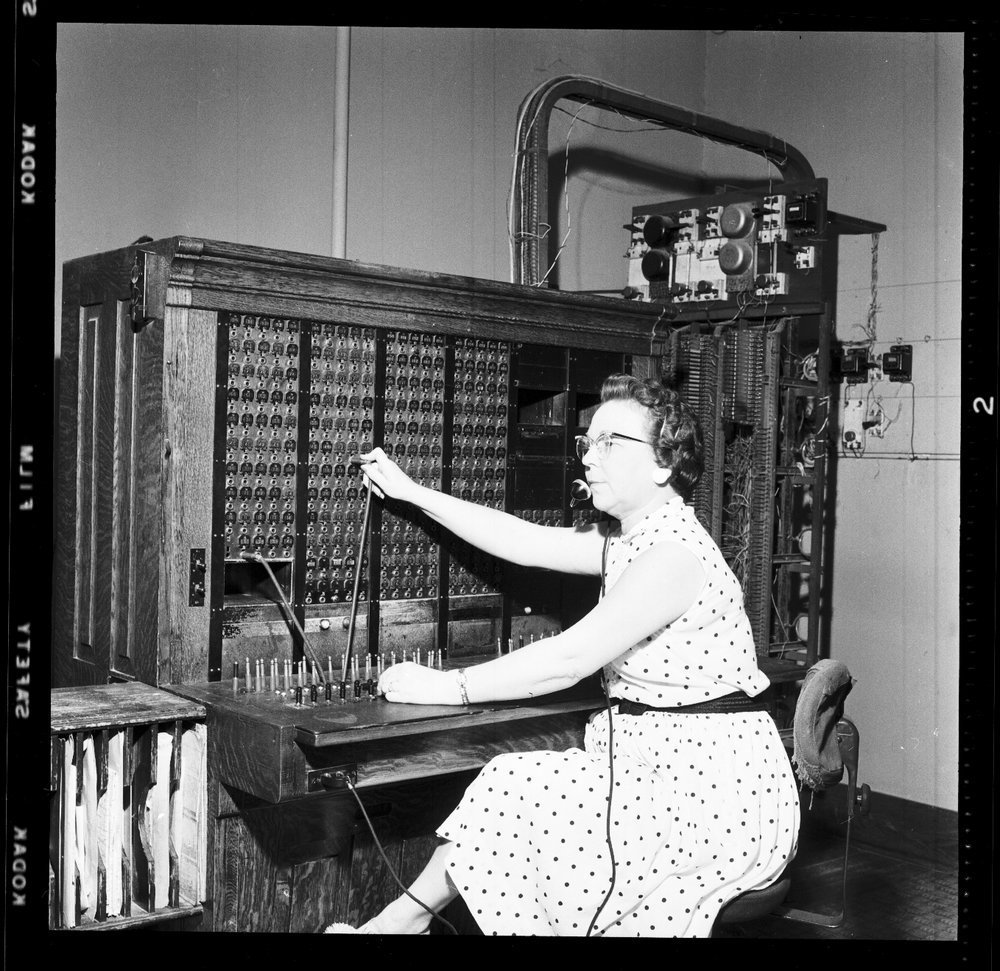 Switchboard operator at the telephone office, Eskridge, Kansas