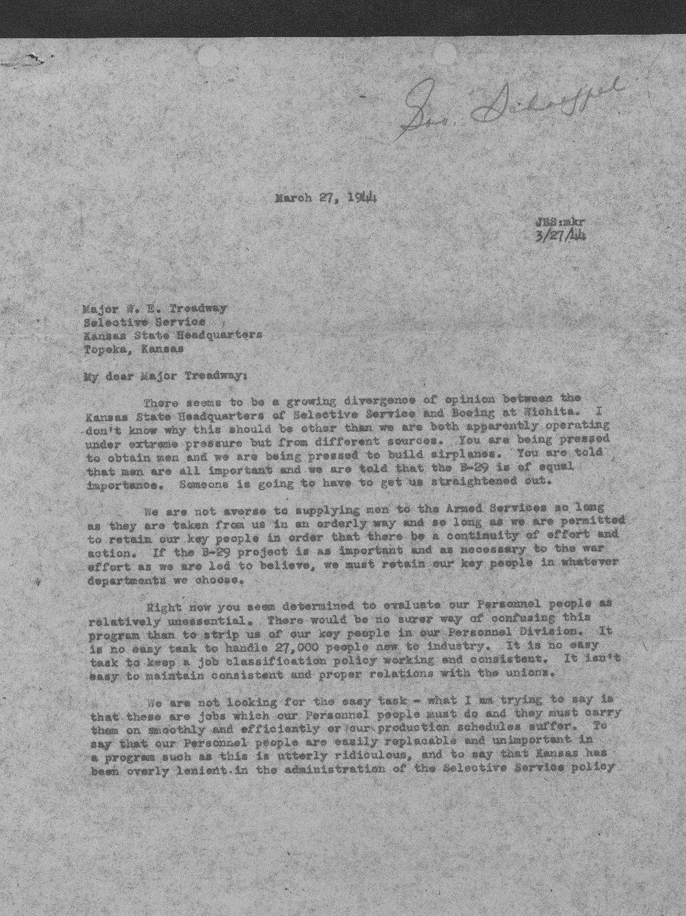 J.E. Schaefer to W.E. Treadway - 1