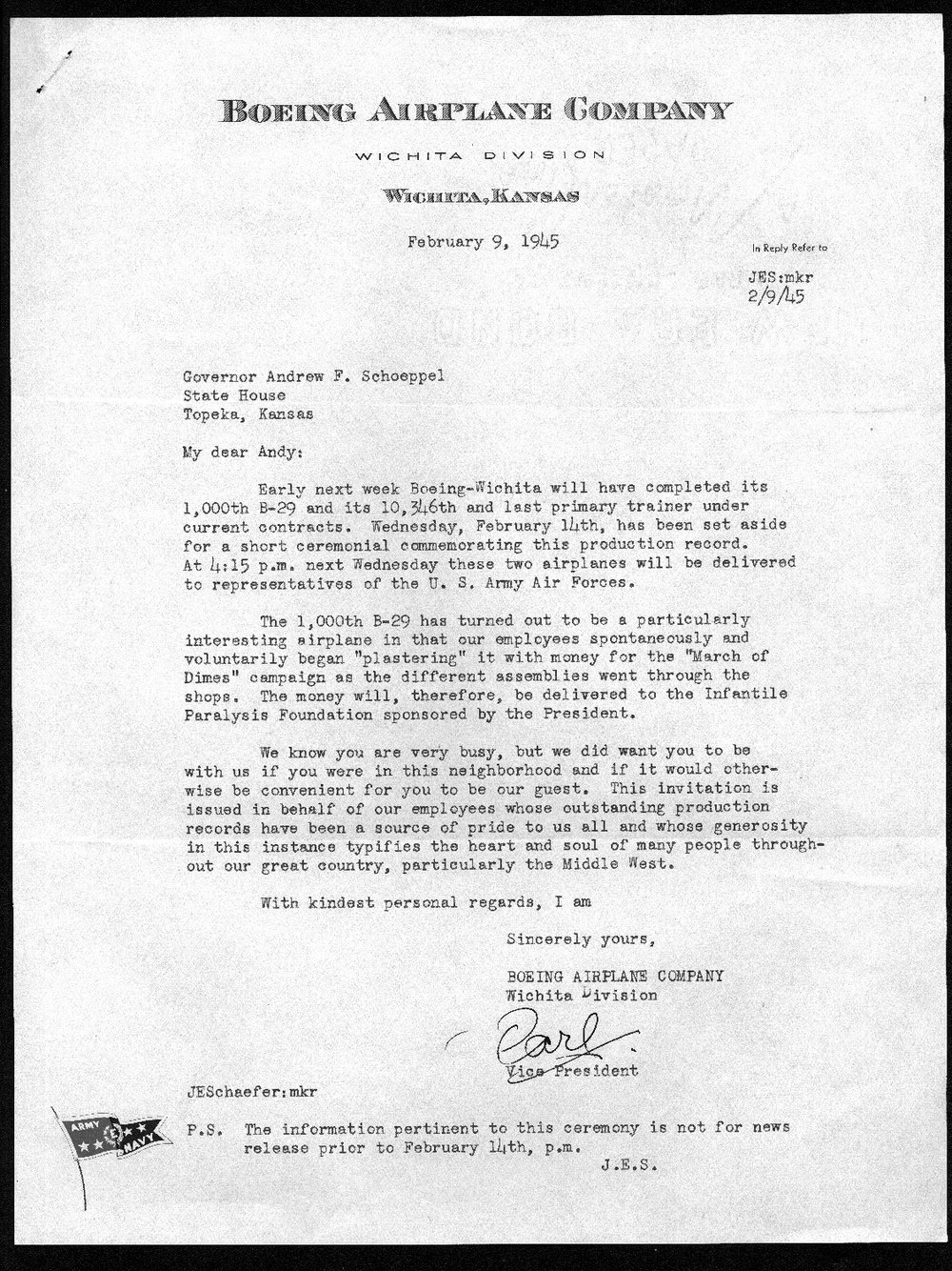 J. Earl Schaefer to Governor Andrew Schoeppel