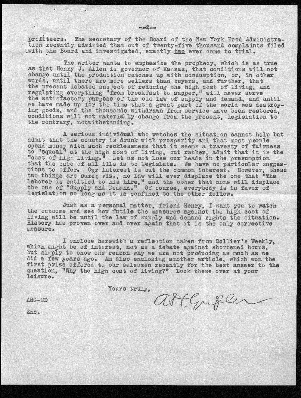 A. H. Gufler to Governor Henry Allen - 2
