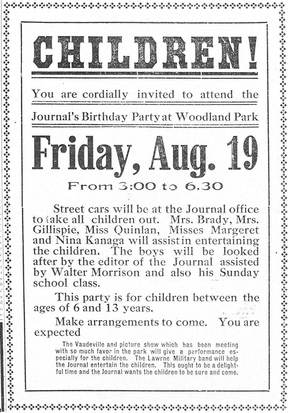 Children! You are cordially invited to attend the Journal's birthday party at Woodland Park - 1