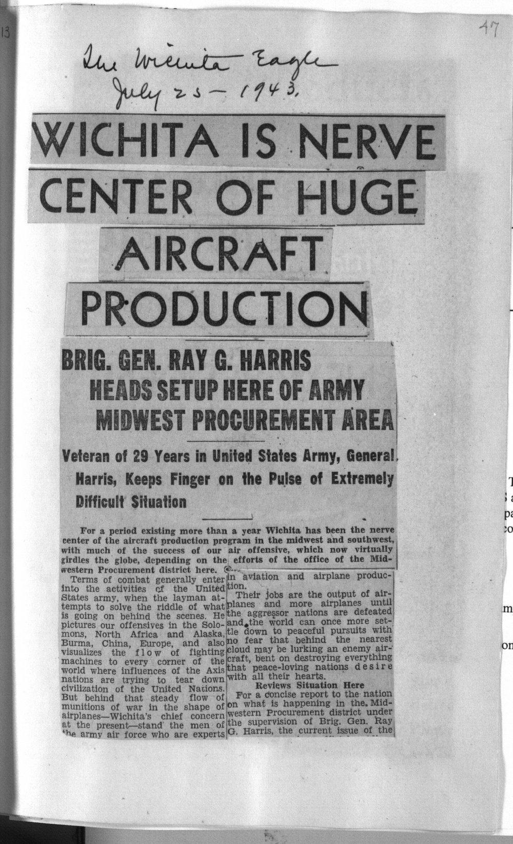 Wichita is nerve center of huge aircraft production - Kansas
