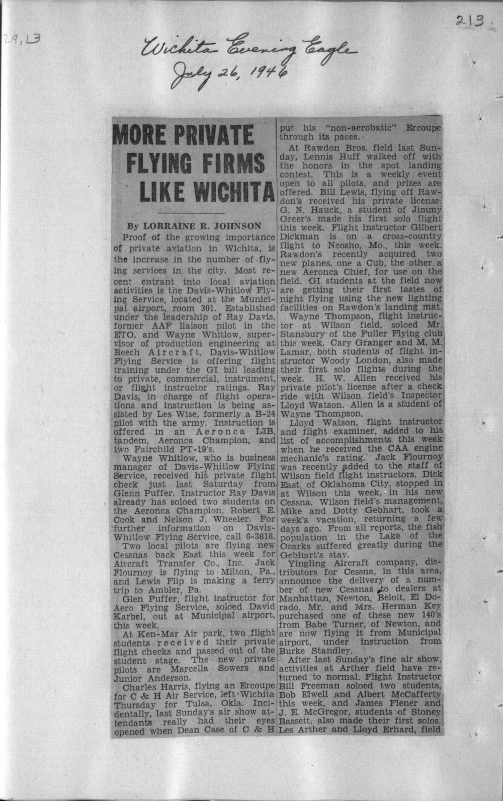 More private flying firms like Wichita - 213
