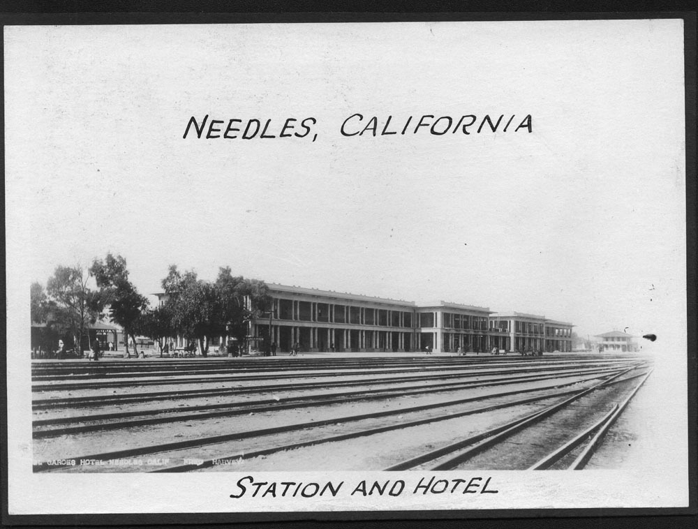 Needles, California depot, Fred Harvey House, and El Garces hotel
