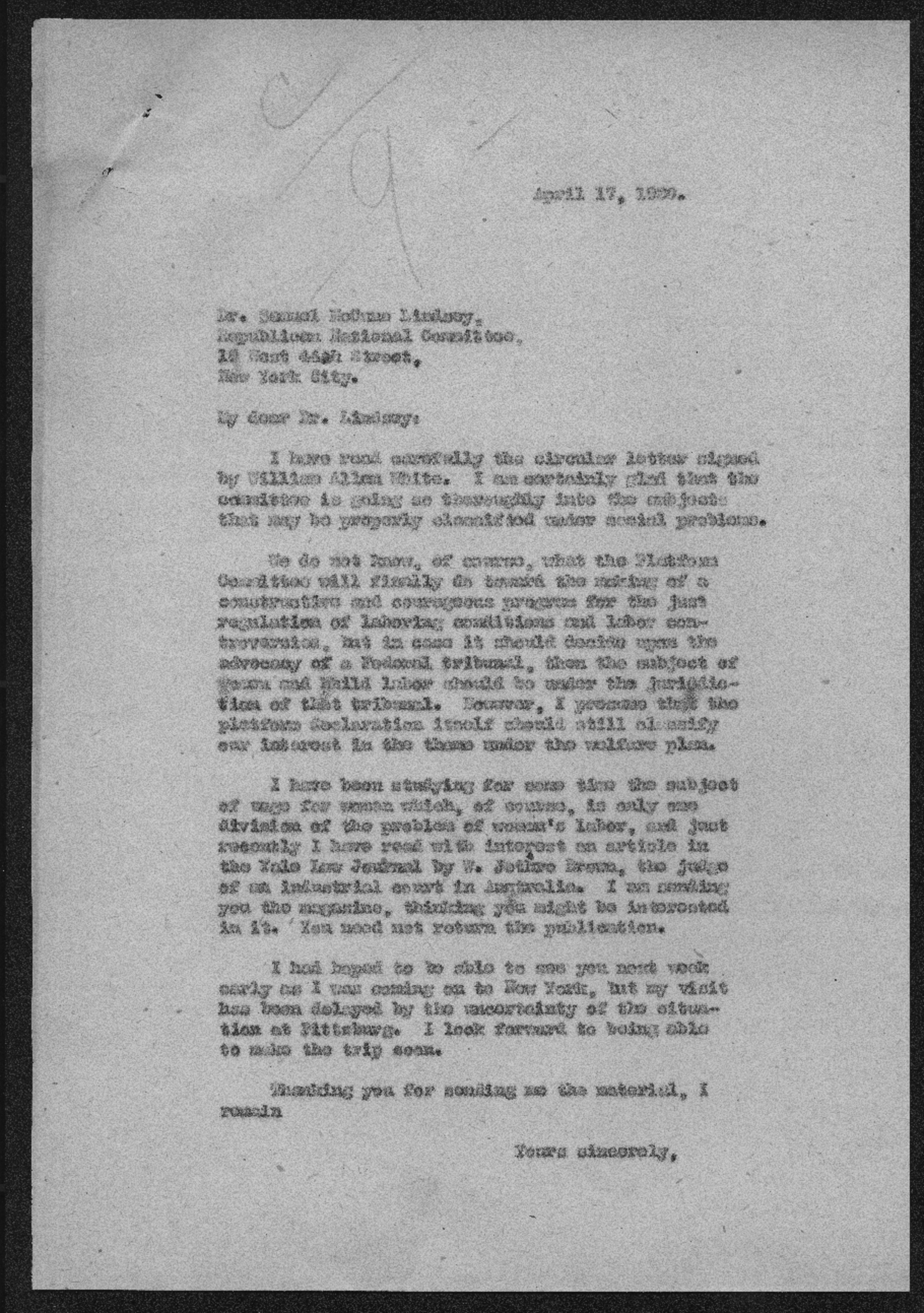 Governor Henry Allen to Samuel McCune Lindsay