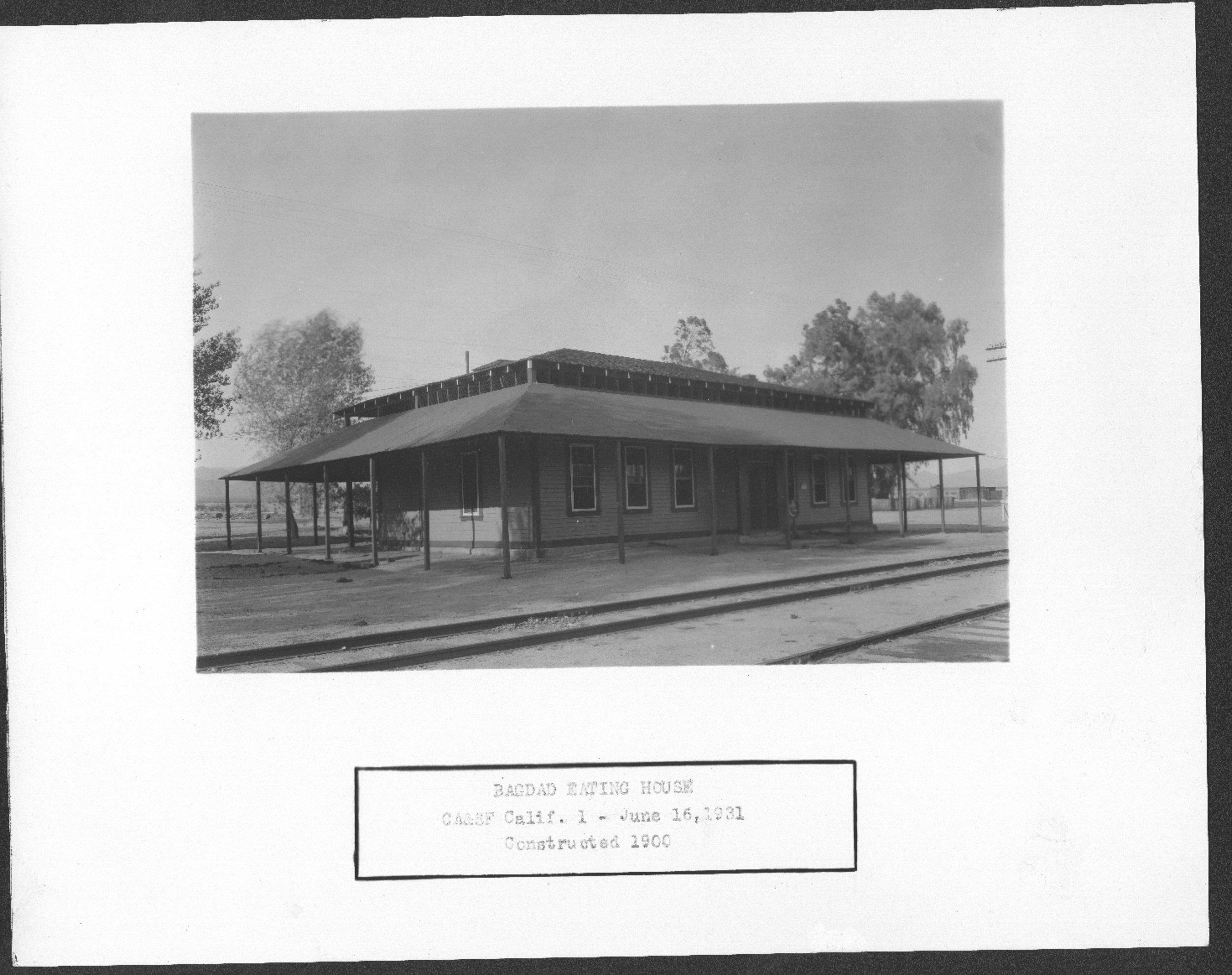 Atchison, Topeka and Santa Fe Railway Company depot and Fred Harvey House, Bagdad, California.