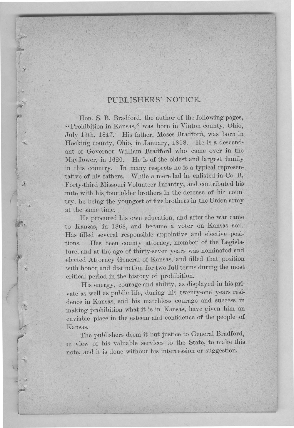 Prohibition in Kansas and the Prohibitory Law - Publishers' Notice
