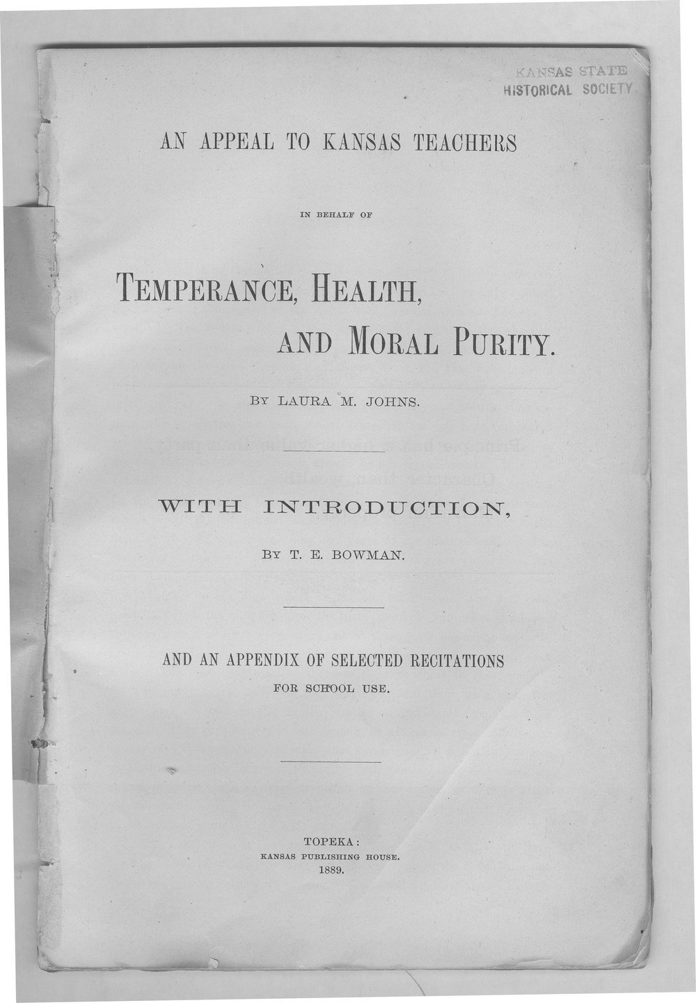 An appeal to Kansas teachers in behalf of temperance, health, and moral purity - Title Page