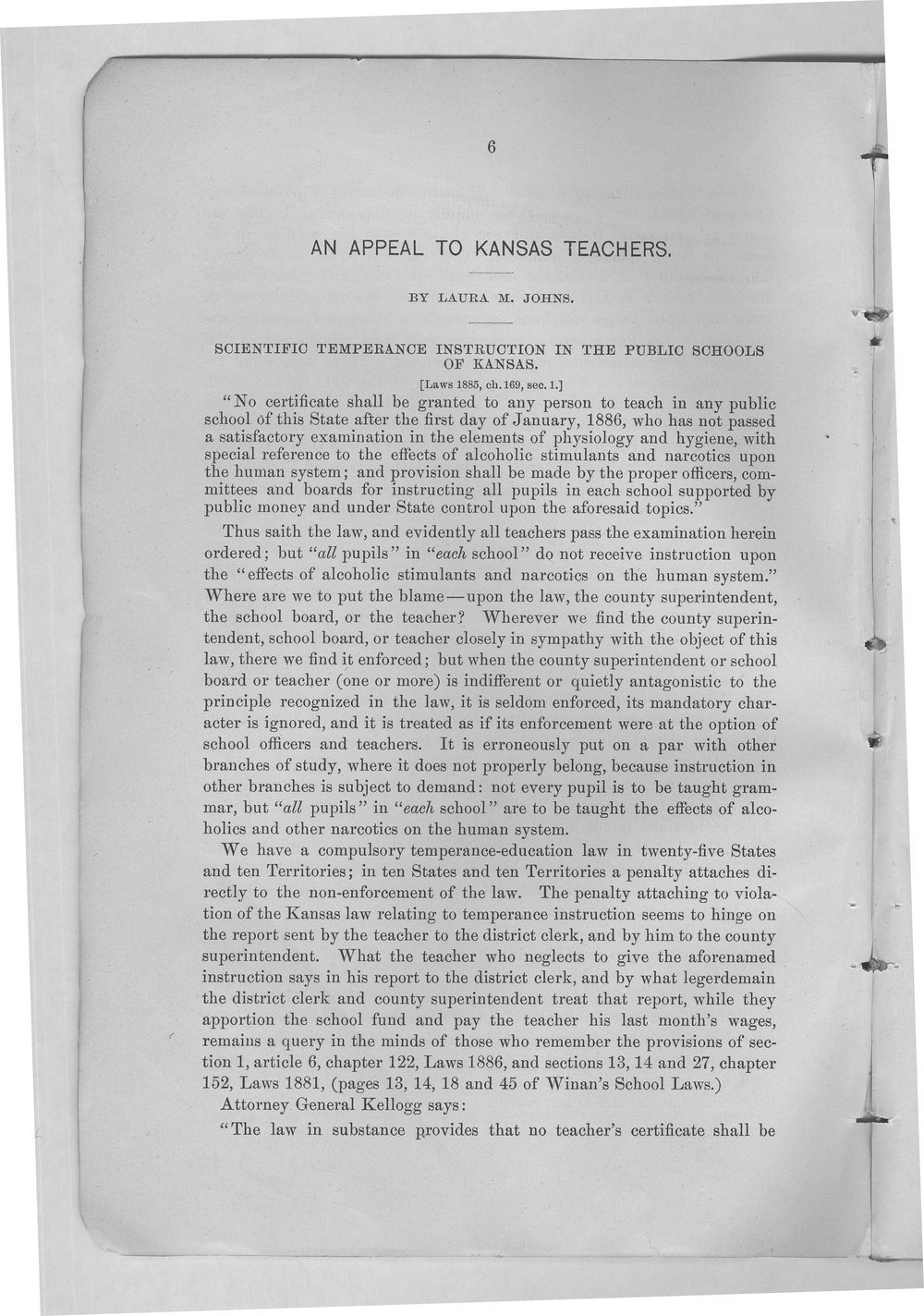 An appeal to Kansas teachers in behalf of temperance, health, and moral purity - 6