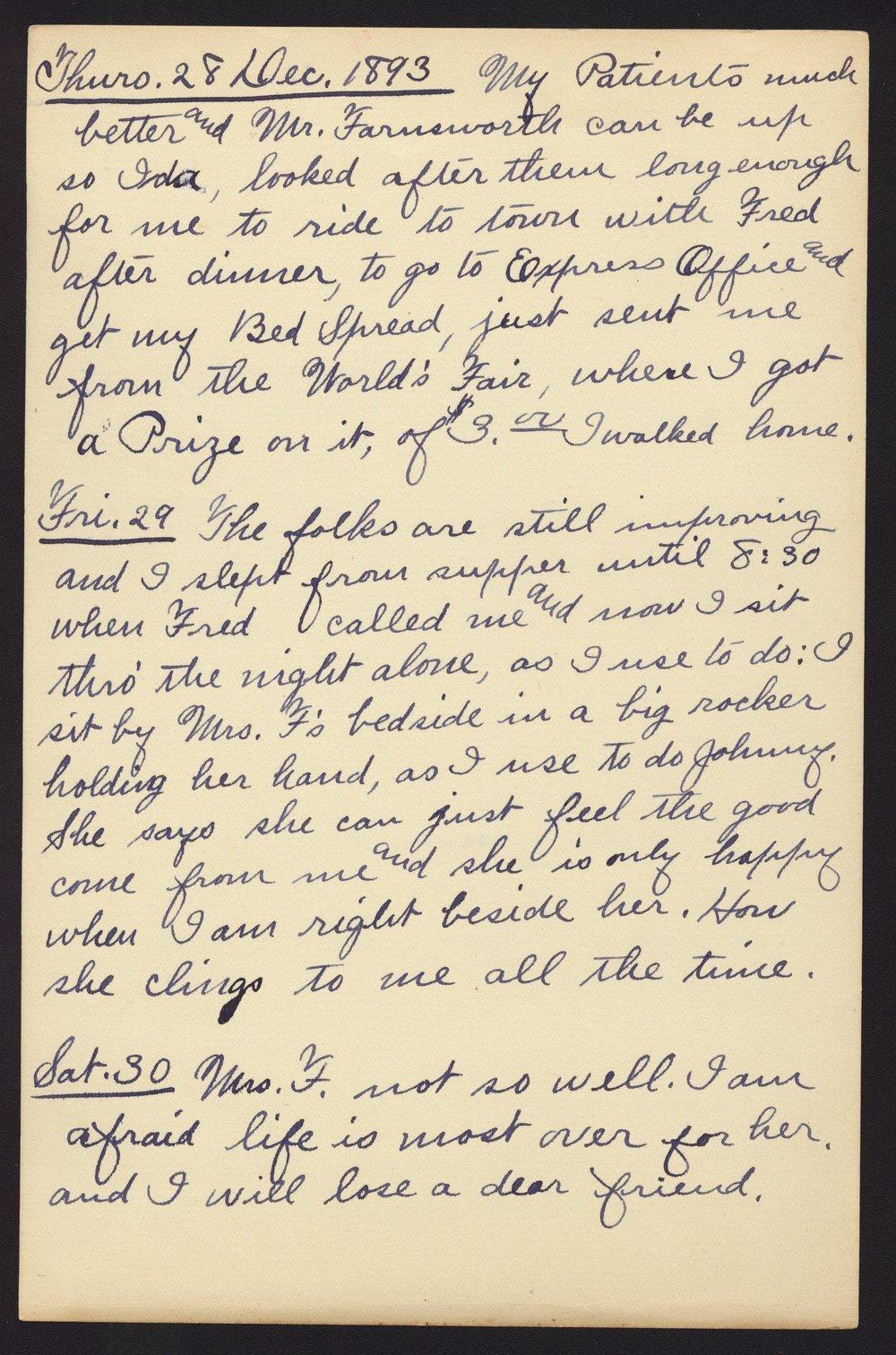 Martha Farnsworth diary - Dec 28, 1893