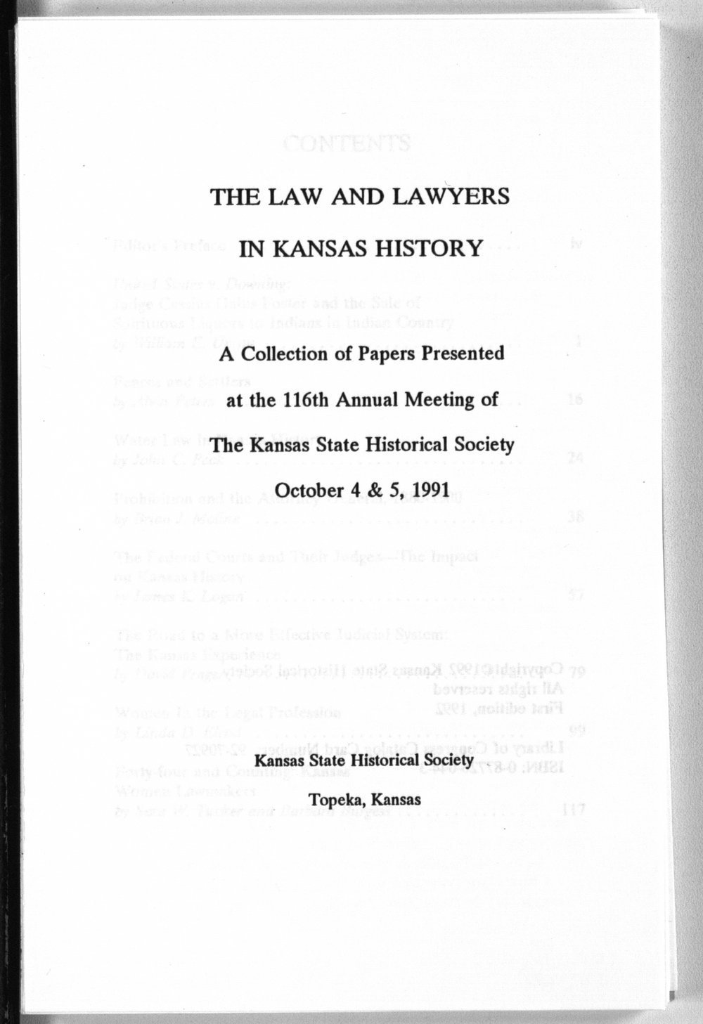 The law and lawyers in Kansas history - Title Page