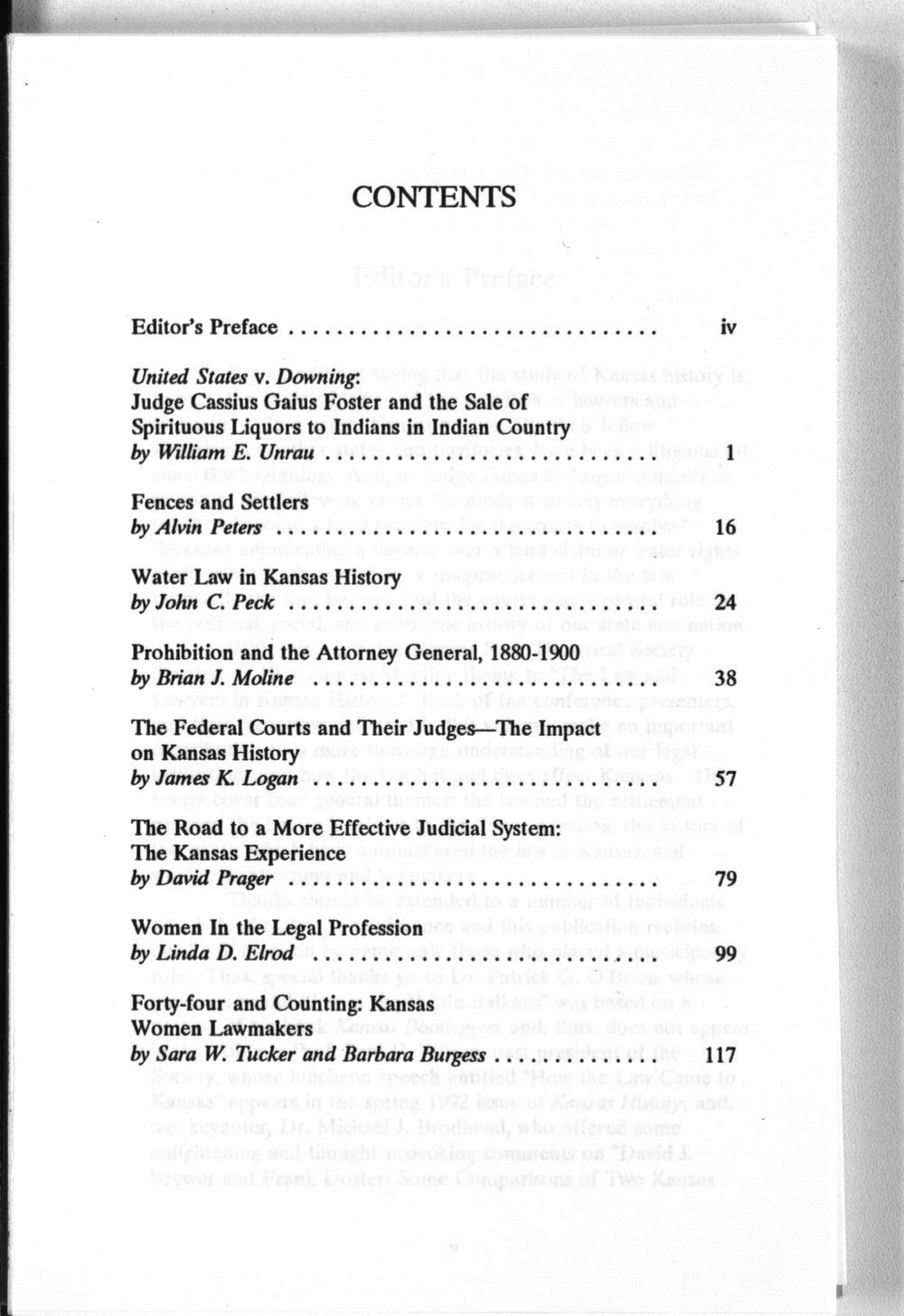 The law and lawyers in Kansas history - Contents