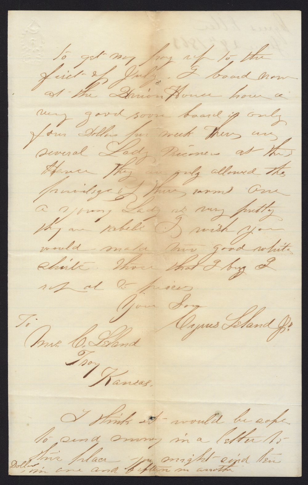 Cyrus Leland, Jr. to Mother and other family members - 2